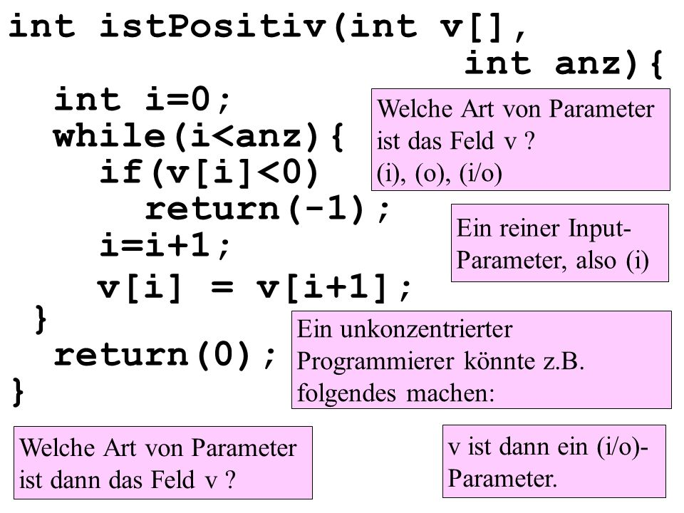 int istPositiv(int v[], int anz){ int i=0; while(i<anz){ if(v[i]<0) return(-1); i=i+1; } return(0); }
